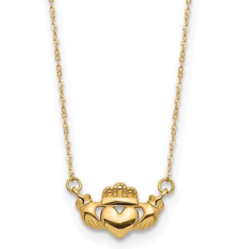 14K Polished Claddagh 17 inch Necklace