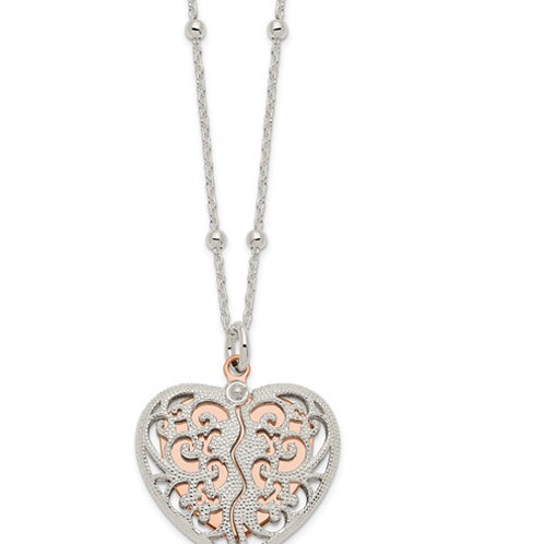 Sterling Silver and Rose-tone Polished Moveable Heart Necklace