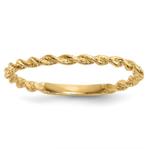14k Polished Twisted Rope Ring