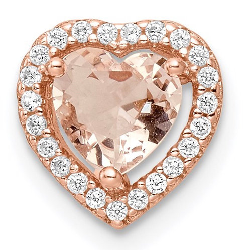 Sterling Silver Rose-tone Polished Pink and White CZ Heart Chain Slide