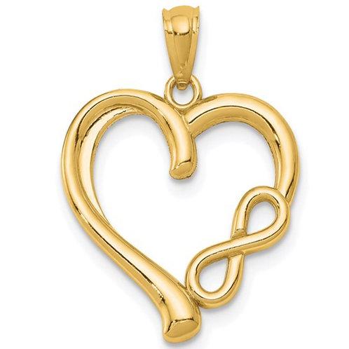 14K Polished Infinity Heart Pendant