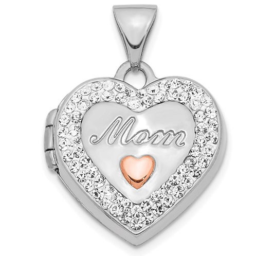 14K White Gold with Rose Rhodium Plated Crystal 16mm MOM Heart Locket Pendant
