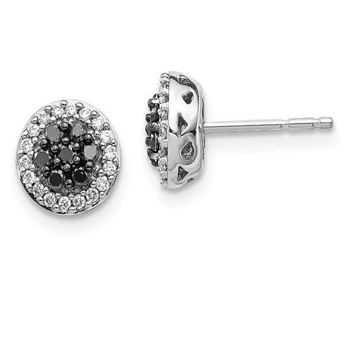 14k White Gold Black/White Diamond Cluster Post Earrings