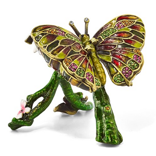 Bejeweled BELLA Butterfly and Pink Orchid Trinket Box