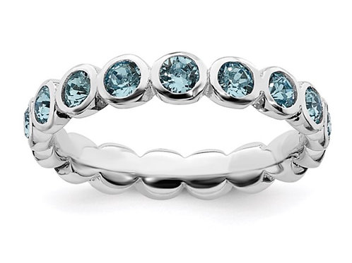 Sterling Silver Stackable Expressions March Swarovski Ring