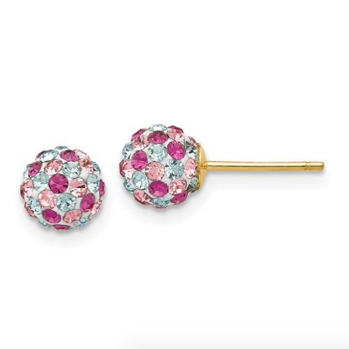 14k Multi-Colored Crystals 6mm Post Earrings