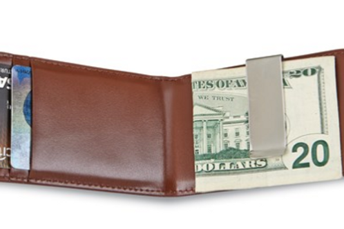 Brown Leather Folding Card Case With Money Clip