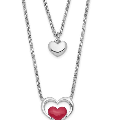 Sterling Silver Rhodium-plate Enamel Heart 2-Strand with 1in Ext Necklace