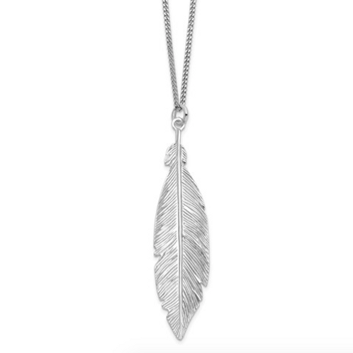 Leslie's Sterling Silver Rhodium-Plated Leaf With 1in Ext. Necklace