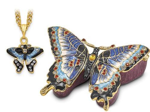Bejeweled Blue Butterfly Trinket Box