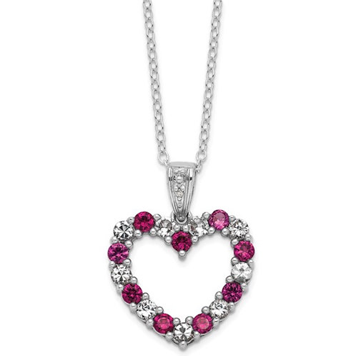 Sterling Silver Created Ruby and White Sapphire Open Heart Necklace