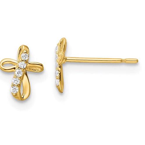 14k CZ Cross Post Earrings