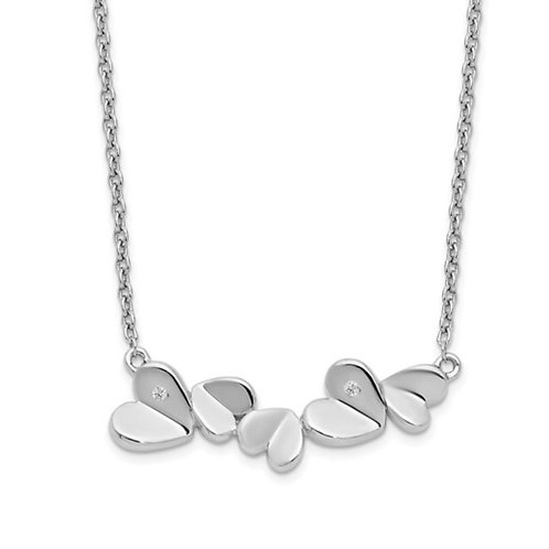 SS White Ice .015ct. Diamond Hearts Necklace