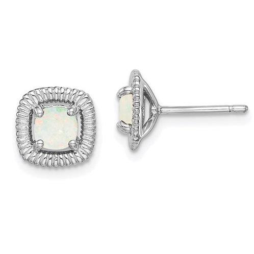 Sterling Silver Rhod-plat Milky Opal Square Post Earrings