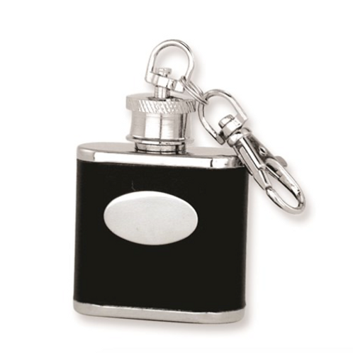 Black Faux Leather Polished Stainless Steel 1oz Key Ring Flask