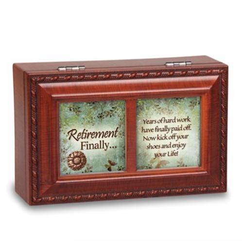 Retirement Sentiment Woodgrain Petite Music Box