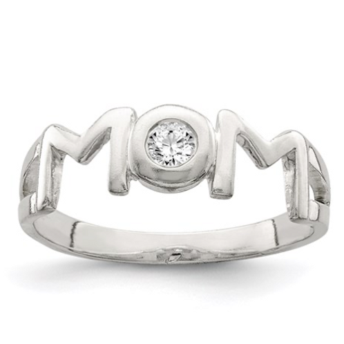 Sterling Silver And CZ Polished Mom Ring