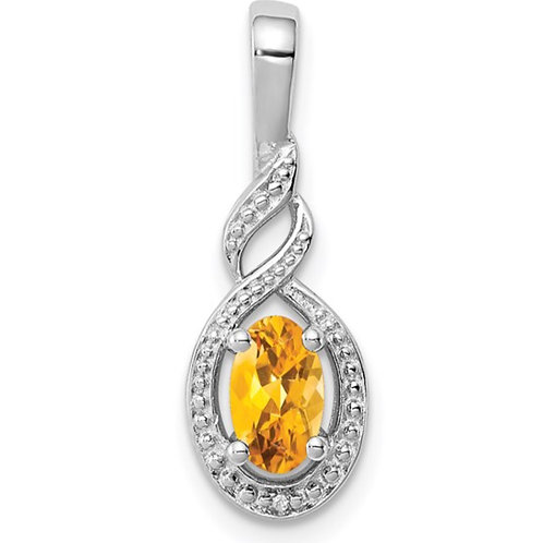 Sterling Silver Rhodium-plated Citrine and Diam. Pendant