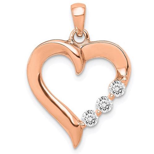 14K Rose Gold Three Stone Lab Grown Diamond SI1/SI2, G H I, Heart Pendant