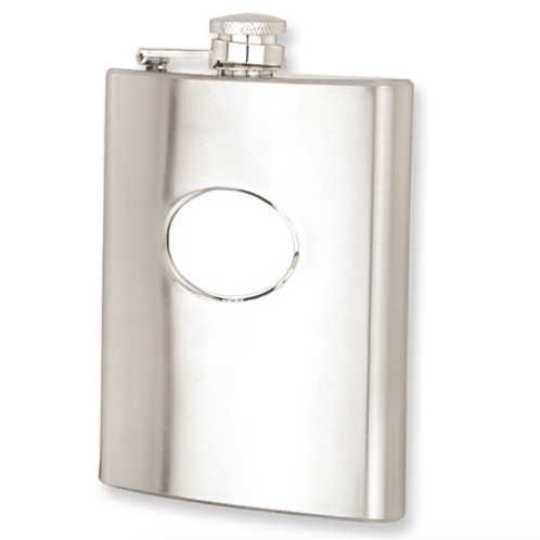 Polished Stainless Steel 8oz Hip Flask