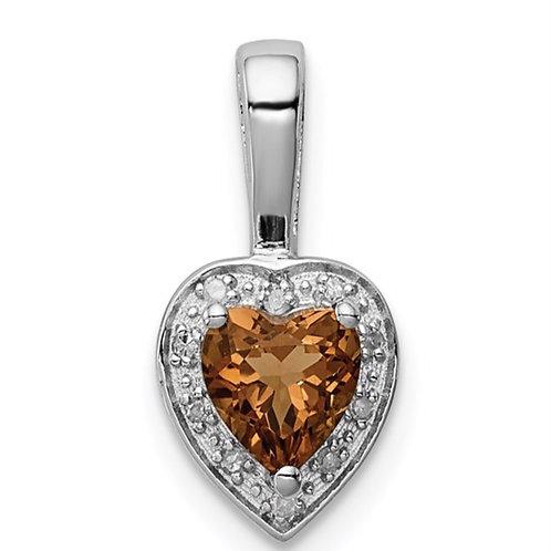 Sterling Silver Rhodium-plated Diamond Whiskey Quartz Pendant