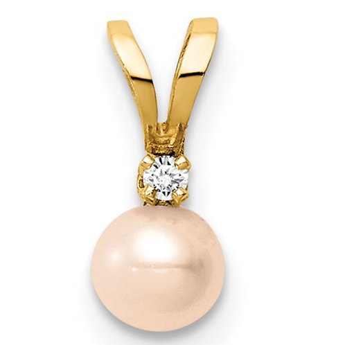 14K Madi K 4-5mm Pink Near Round Freshwater Cultured Pearl CZ Pendant