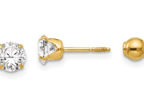 14k Madi K Polished Reversible 5mm CZ And Ball Earrings