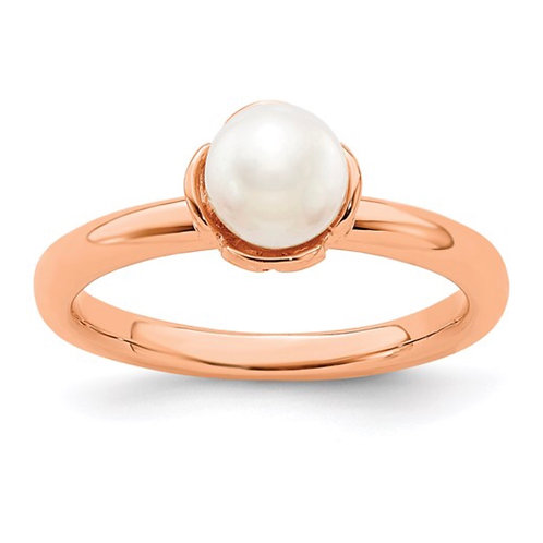 Sterling Silver Stack Exp. White FW Cultured Pearl Pink-plated Ring