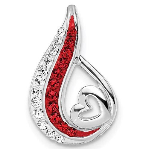 Sterling Silver RH-plated Preciosa Crystal Teardrop Heart Chain Slide