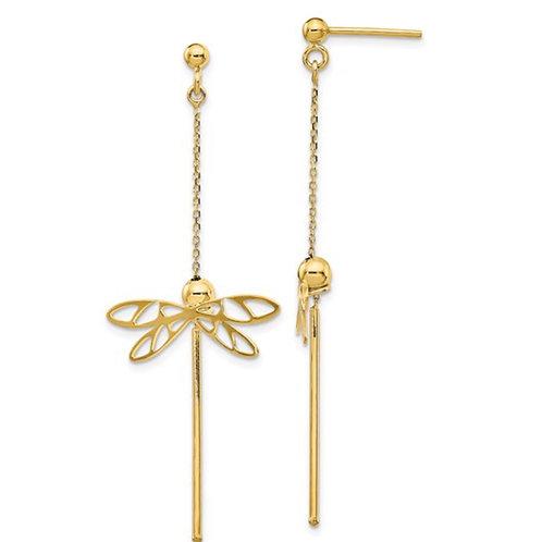Leslie's 14K Polished Dragonfly Post Dangle Earrings