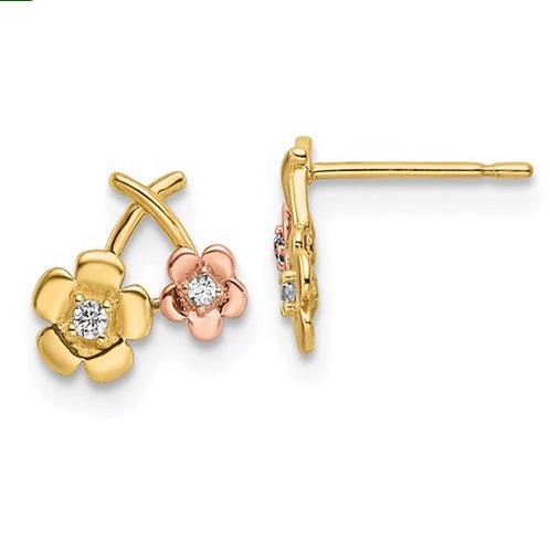 14k Two-tone CZ Flowers Post Earrings