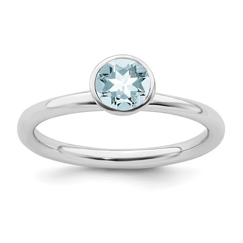 Sterling Silver Stackable Expressions High 5mm March Swarovski Ring