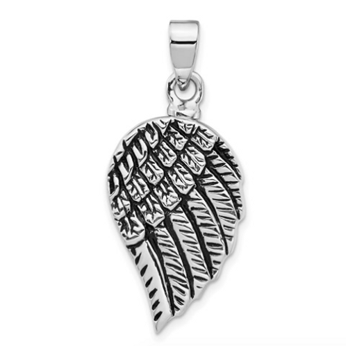 Sterling Silver Rhodium-Plated Enameled Angel Wing Ash HolderPendant