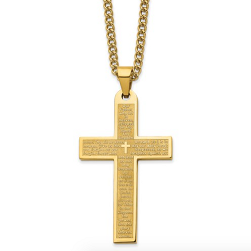Stainless Steel Polished Yellow IP-Plated Lord's Prayer Cross 24in Necklace