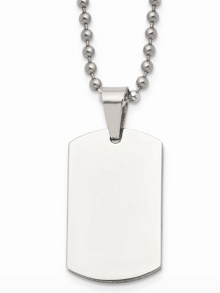 Stainless Steel Brushed And Polished 1.85mm Reversible Dog Tag Necklace