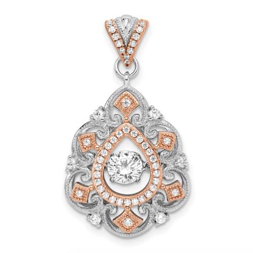 Sterling Silver Plat-Plate Rose-Tone Vibrant Swarovski Zirconia Fancy Pendant