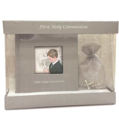 Grey First Communion Photo Book and Rosary Set