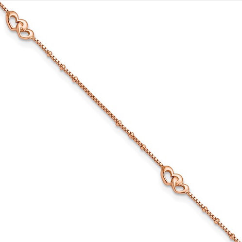 Sterling Silver Rose-tone Polished Hearts 9in Plus 1in Ext Anklet