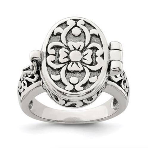 Sterling Silver Antique Locket Ring
