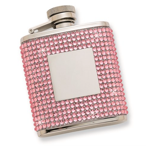 2.5 Oz. Stainless Steel Pink Crystal Flask