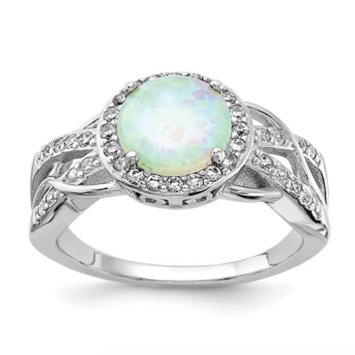 Cheryl M Sterling Silver Rhodium-Plated CZ And Created Opal Twisted Ring