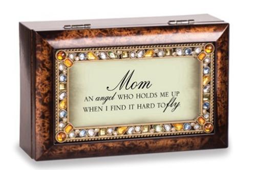 Mom Sentiment Jeweled Amber Petite Music Box