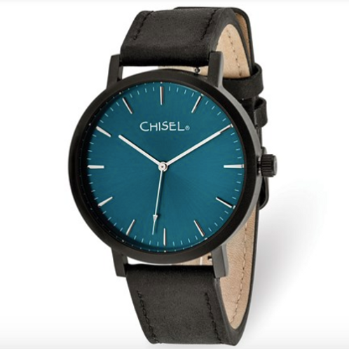 Chisel Matte Black IP-Plated Blue Dial Watch