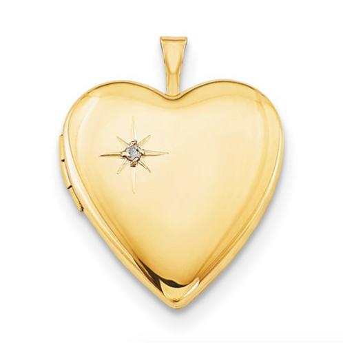 1/20 Gold Filled 20mm Diamond Heart Locket