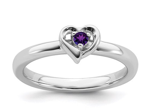 Sterling Silver Stackable Expressions Amethyst Heart Ring