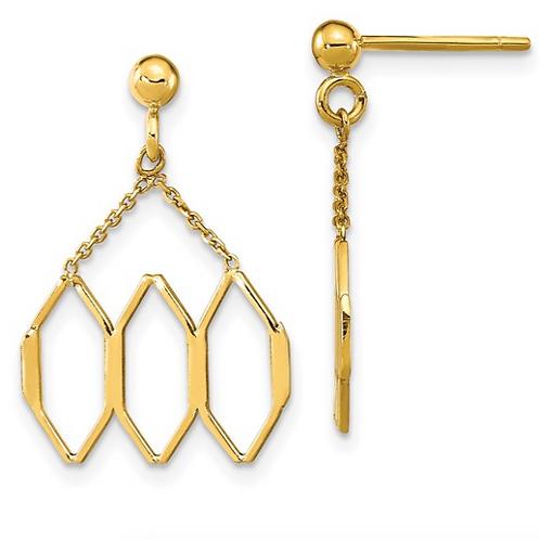 14K Polished Fancy Shapes Dangle Post Earrings