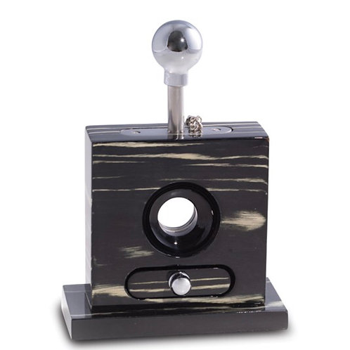 Lacquered Ebony Wood/Stainless Table Top Guillotine Cigar Cutter