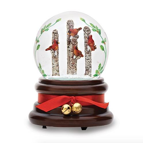 Resin Cardinal Musical Glitterdome Snow Globe