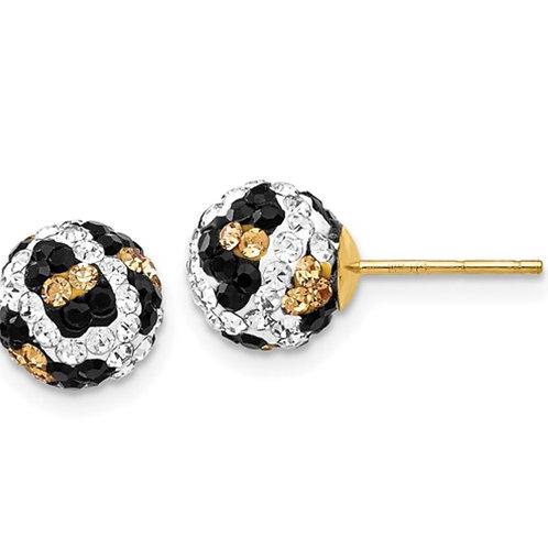 14k 8mm Post Leopard Pattern White Black Yellow Crystal Earrings