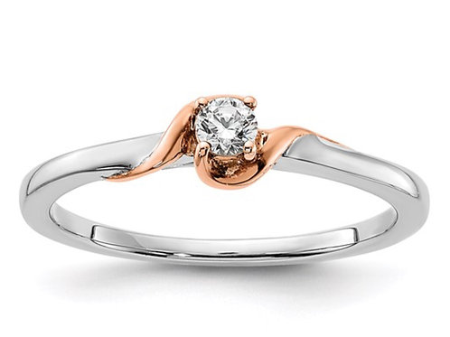 14k White and Rose Polish Complete Round Diamond Promise Ring